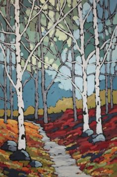 Jennifer Woodburn - Really nice work Abstract Landscape, Landscape Paintings, Painting Abstract, Acrylic Paintings, Tree Art, Oeuvre D'art, Art Techniques, Painting Inspiration, Art Images