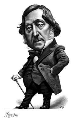 Rossini  - Composers done in the technique of Scratchboard - Project by Mark Summers