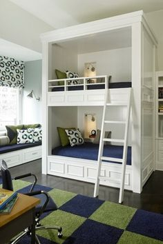 Traditional Kids Bedroom with Window seat, High ceiling, Hardwood floors, Bunk beds