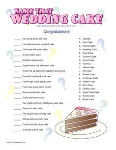 Name That Wedding Cake Game
