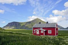 Lofoten, Norway.  Situated amidst a beautiful range of mountains, wonderfully bucolic.