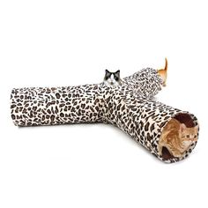 Pet Play Tunnel Cat Tunnel Leopard Print Crinkly 3 Ways Fun Tunnel Kitten Play Toy Collapsible Rabbit Toys Cat Products