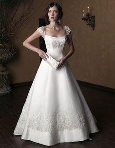 a-line-cap-straps-floor-length-satin-wedding-dresses-for-bride.jpg (544×700)