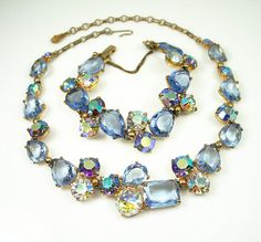 Vintage Schiaparelli Necklace Bracelet Blue Rhinestone Jewelry Set by zephyrvintage, $595.00