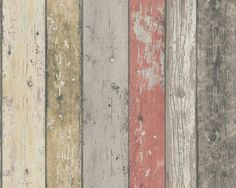 Realistic Shabby Chic Coloured Distressed Wood Panel Effect Wallpaper