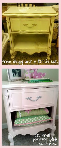 powder pink side table makeover before and after, DIY refinish for my sweet girl's nursery!