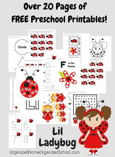 Fun ladybug preschool printable pack with over 20 pages of free printables!