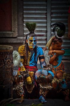 "♂ Ethnic beauty ""portrait of Mayan warriors with painted body"" by Anthony Pappone"