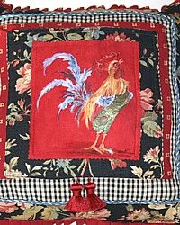 One of a Kind Hand Painted French Country Rooster Pillow Black-Red,ultrasuede,yellow,floral,fringe, designer,green,chicken,artist,tassel,decor,