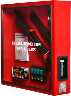 """""""In Case Of Zombies Break Glass"""" emergency cabinet. Also available in Demon, Vampire and Werewolf variants. €141"""