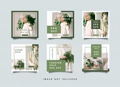 Green fashion social media banners quare... | Premium Vector #Freepik #vector #design #green #fashion #phone Instagram Design, Instagram Feed Layout, Instagram Posts, Social Media Banner, Social Media Template, Social Media Design, Web Banner Design, Layout Design, Web Banners