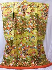 #C270 Japanese UCHIKAKE  Wedding KIMONO Excellent Yellowgreen SILK  Dress ROBE