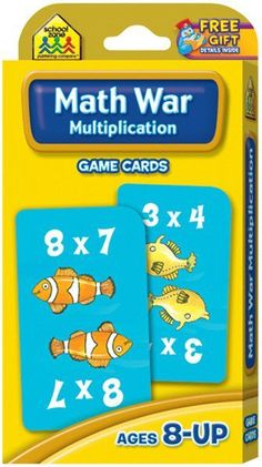 Game Cards-Multiplication Math WarSCHOOL ZONE-Game Cards. These cards offer learning in the form of a game; which is great for kids. This package contains one box of game cards. Available in a variety