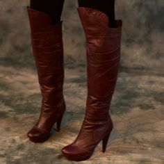 Gorgeous over the knee leather boots! Absolutely gorgeous and unique dark burgundy over the knee boots. Only worn three times.  Bottoms are a little scuffed but these boots are in amazing shape.  Bought at a boutique in Florida. Fits true to size Velvet Angels Shoes Over the Knee Boots