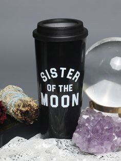 "Our item of the week! FOLLOW us, REPIN this photo, + comment below and one winner will be selected to WIN the ""Sister Of The Moon Travel Mug""! Winner will be contacted Monday 9/12 on Pinterest. #gypsywarrior"