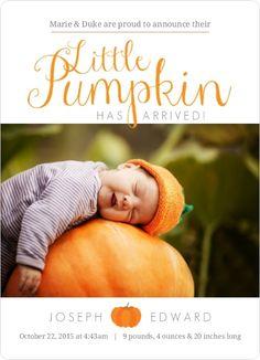 Orange Little Pumpkin Arrival Birth Announcement