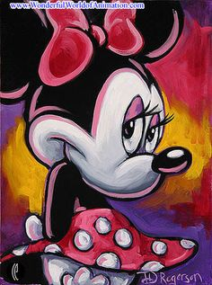Minnie Disney Studios giclee on canvas with slight hand embellishments Animation Art giclee on canvas with slight hand embellishments of Minnie Mouse From Disney Studios