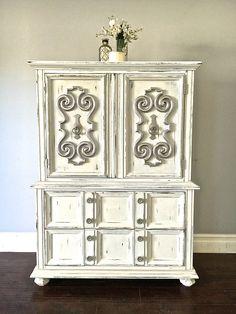 Shabby Chic White Silver Leaf 5 Drawer Highboy Dresser 425 Sold
