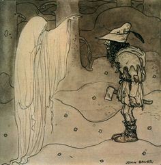 Image collections of Swedish artist John Bauer. Art and illustrations from Our Fathers' Godsaga, Swedish Fairy and Folk Tales, Lapp Folk, Swansuit, more. And of course trolls! John Bauer, Sketchbook Drawings, Art Drawings, Sketches, Art And Illustration, Troll, Fairytale Art, Conte, Illustrators
