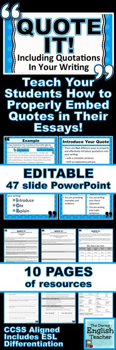 Teach your students how to properly embed quotations in their writing CCSS Aligned Includes ESL Differentiation Writing Grades 712 Teaching writing Secondary English High. Writing Lessons, Teaching Writing, Writing Skills, Teaching English, Thesis Writing, Writing Jobs, Letter Writing, English Writing, Teaching Tips
