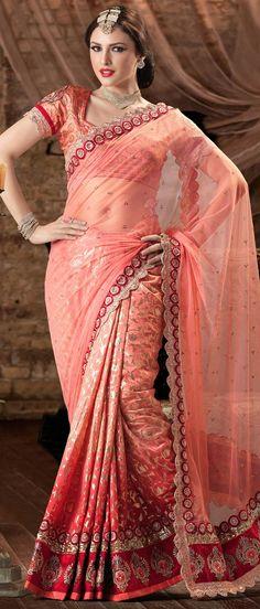 Peach Net #Saree With #Blouse @ $127.65