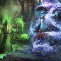 necro vs storm by ~chevsy on deviantART League Of Legends, Overwatch, Dota2 Heroes, Dota 2 Game, Online Battle, Games W, Branding, Character Art, Video Game