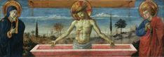Giovanni Bellini - Cristo in Pietà tra la Vergine e San Giovanni - Pinacoteca di Brera. Questo dipinto rappresenta un'Imago pietatis, con Cristo raffigurato morto, ma in piedi dentro un sarcofago rosa, affiancato