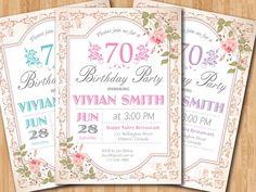 70th Floral Birthday Invitation Women Surprise Birthday. Adult Elegant vintage flower. Purple, Pink, Blue, any. Printable digital. by arthomer on Etsy https://www.etsy.com/listing/198598015/70th-floral-birthday-invitation-women