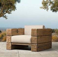 Captivating Garden Seating For Sparkling Outdoor Area: Awesome Wooden Lounge Chairs In An Outside Space