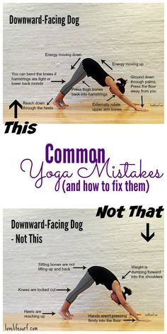 Whether you're a beginner or experienced yogi, your yoga practice could probably use some fine-tuning. Here's a breakdown of common mistakes in 4 yoga poses that many people do wrong and how to fix them (with pictures! Yoga Kundalini, Yoga Beginners, Downward Facing Dog, Yoga Bewegungen, Yoga Pad, Yoga Flow, Yoga Nature, Yoga For Weight Loss, Losing Weight
