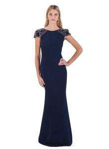 Badgley Mischka Jeweled Cap-Sleeve Jersey Gown