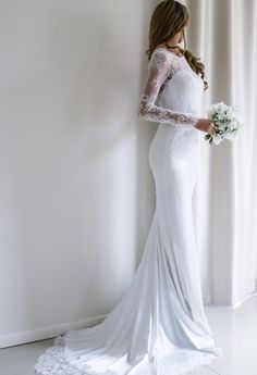 Long Sleeve Wedding Dress / Bridal dress with lace by SilkBrides