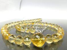 46bc5c10732a Citrin Kette 925 Sterling Silber rhodinert gelb Edelstein Geschenk  Geburtstag Braut Schmuck Jahrestag Sommer Kette Sonne