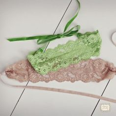 stretch lace headband with velvet ties
