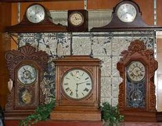 Beautiful Old Clocks ~ I have an old Sessions Mantle clock which looks a lot like the one on the top shelf, left.  It would work if my Hubby would let it.  He thinks it ticks and tocks too loud...and don't even mention the chimes!