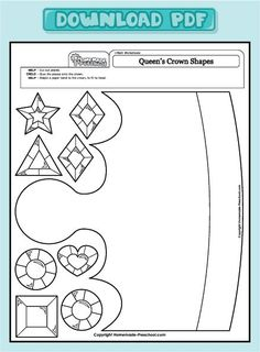 Creative, hands-on preschool worksheets, are just what a preschooler needs. Each one is full of activity ideas, making learning fun! Art Worksheets, Preschool Worksheets, Preschool Activities, Bible Crafts, Paper Crafts, Crown Crafts, Sunday School Crafts, Kids Church, Toddler Crafts