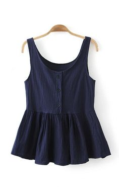 Dark Blue O-neck Falbala Hem Vest ( my type of shirt :) , love it Casual Outfits, Summer Outfits, Fashion Outfits, Womens Fashion, Pretty Outfits, Cute Outfits, Looks Style, My Style, Moda Casual
