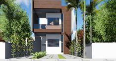 Esta casa foi projetada para terrenos com 5 metros de frente por 20 metros de comprimento e sua área total mede 99,68 m². Possui uma fachada voltada... House Floor Design, Tiny House Cabin, Little Houses, Minimalist Home, Future House, Architecture, House Styles, Home Decor, Lofts