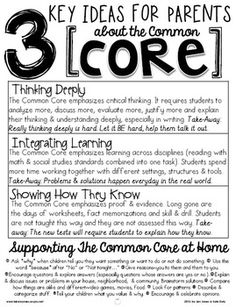 Hello Literacy: A Parent Handout: 3 Key Ideas for Parents about the Common Core + 10 Strategies for Supporting the Common Core At Home This is a great resource for those confused by the Common Core hype in the media. Common Core Math, Common Core Standards, Professor, Curriculum Night, Back To School Night, Middle School, Parent Teacher Conferences, Meet The Teacher, Beginning Of The School Year