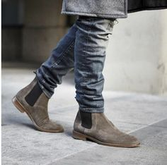 Handmade gray leather boots chelsea suede leather boots by Bashccs