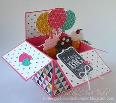Chalk Talk Birthday Pop-Up Card in a Box by - Cards and Paper Crafts at… Fun Fold Cards, 3d Cards, Folded Cards, Cute Cards, Stampin Up Cards, Card In A Box, Pop Up Box Cards, Exploding Box Card, Card Making Inspiration
