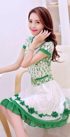 Cute Chiffon Embroidered Dress with Layered Skirt YRB0690 #minidress #dresses #asiandresses