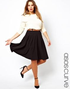 Perfect for work.  ASOS Curve | ASOS CURVE Midi Skirt With Belt at ASOS