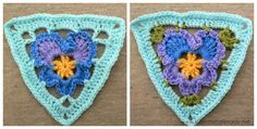 Crochet Pansy Triangle Bunting Grannys Pansy   Crochet ..for reg yarn but i'm thinking thread and joining for a doilie