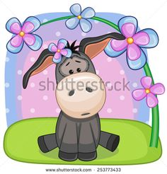 Greeting card Donkey with flowers  - stock photo