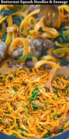 You are going to fall in love with these Butternut Squash Noodles with Sausage! Made with Italian sausage, spinach, spiralized butternut squash, garlic, cream, and Parmesan cheese, this dish is just bursting with flavors!  #butternutsquash #dinner #spiralizer #sausage #onepot #spinach #keto #lowcarb #recipe #recipeoftheday
