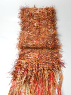 Handwoven Scarf Rust and Orange