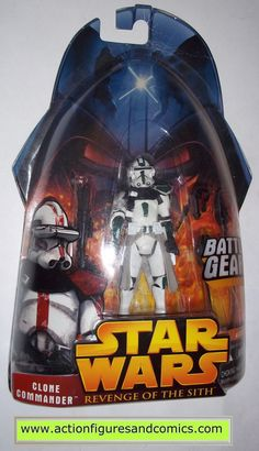 star wars action figures CLONE TROOPER COMMANDER green 33 2005 revenge of the sith hasbro toys moc mip mib