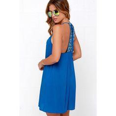 Tiki Hut Embroidered Blue Dress ($49) ❤ liked on Polyvore featuring dresses, blue, blue embroidered dress, ruched dress, ruching dress, white day dress and panel dress