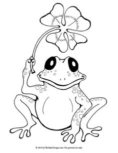 printable frog clover coloring page the inky octopus